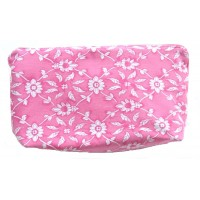 Pink White Denim Patterned Pouch