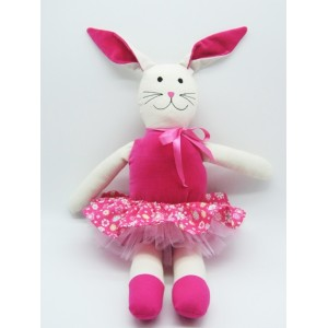 Cloth Pink Velour Rabbit Doll with Tutu and Skirt