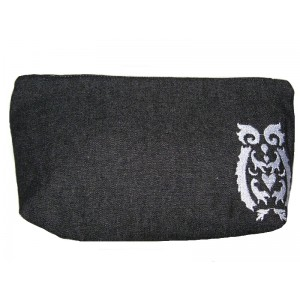 Pouch Denim Embroidered Owl